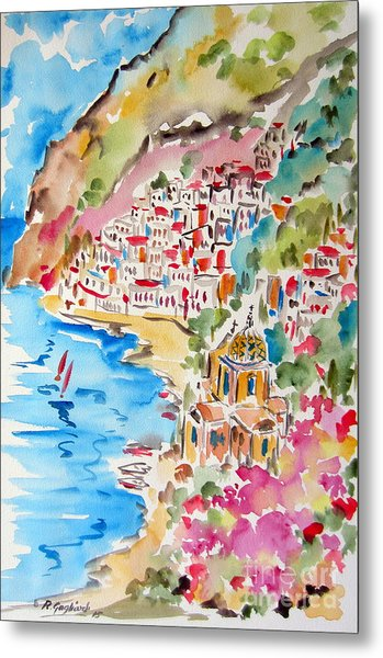 Positano Water Color Metal Print