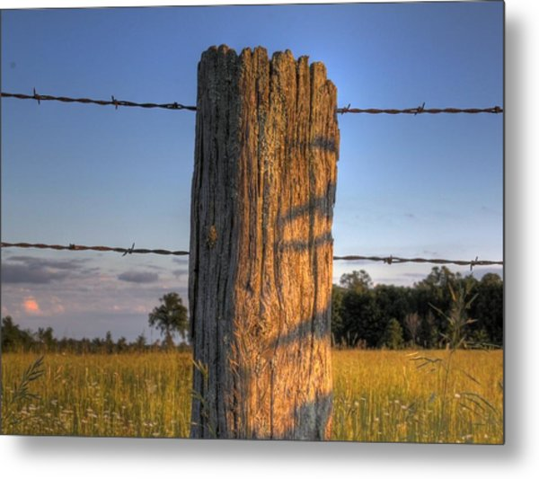 Post And Barb Wire Metal Print