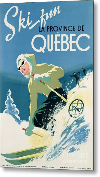 Poster Advertising Skiing Holidays In The Province Of Quebec Metal Print