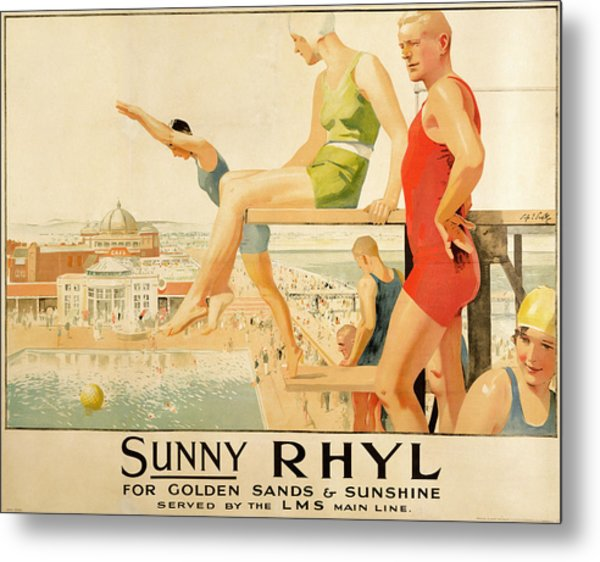 Poster Advertising Sunny Rhyl  Metal Print