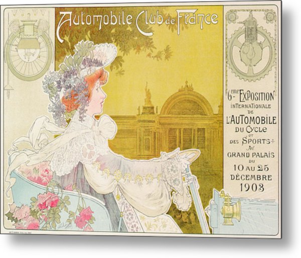 Poster Advertising The Sixth Exhibition Of The Automobile Club De France Metal Print