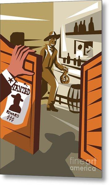Poster Illustration Of An Outlaw Cowboy Metal Print by Patrimonio Designs Ltd