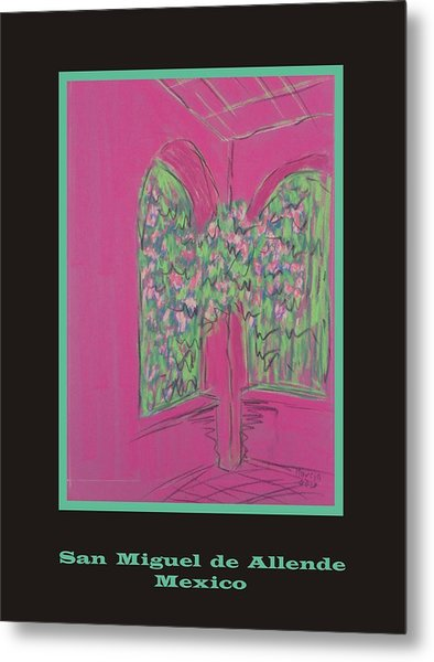 Poster -  Pink Patio Metal Print by Marcia Meade