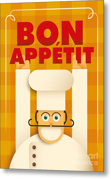 Poster With A Comic Chef. Vector Metal Print by Radoman Durkovic