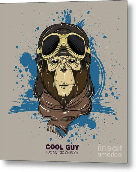 Poster With Portrait Of Monkey Wearing Metal Print by Now Design