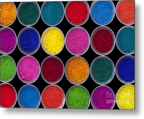 Pots Of Coloured Powder Pattern Metal Print