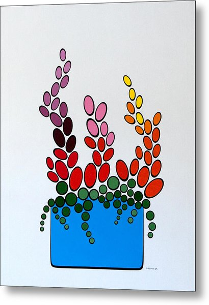 Potted Blooms - Blue Metal Print