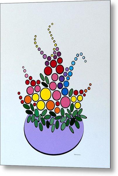 Potted Blooms - Lavendar Metal Print