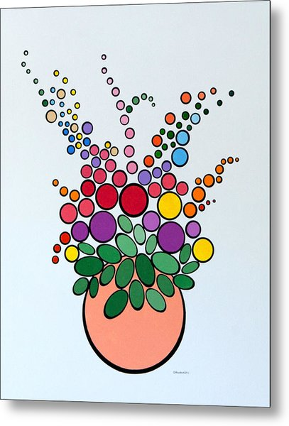 Potted Blooms - Orange Metal Print