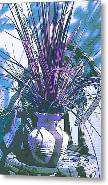 Potted In Blue Metal Print