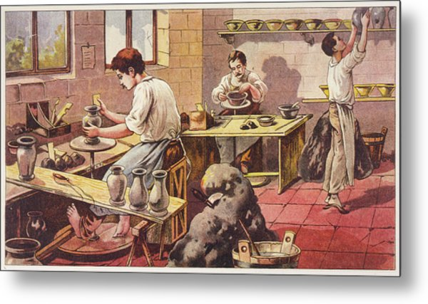 Potters At Work, One Barefoot Metal Print