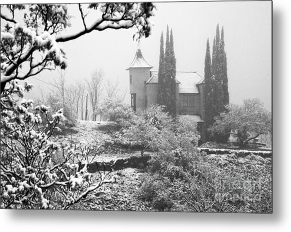 Powderbox Church With Snow In Jerome Arizona Metal Print