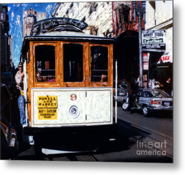 Metal Print featuring the mixed media Powell And Market Cable Car San Francisco by Glenn McNary