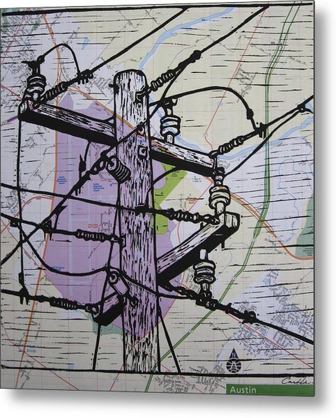 Power Lines On Map Metal Print by William Cauthern