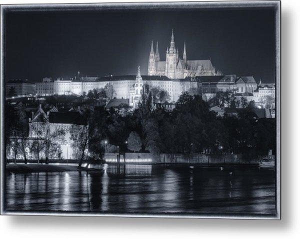 Prague Castle At Night Metal Print