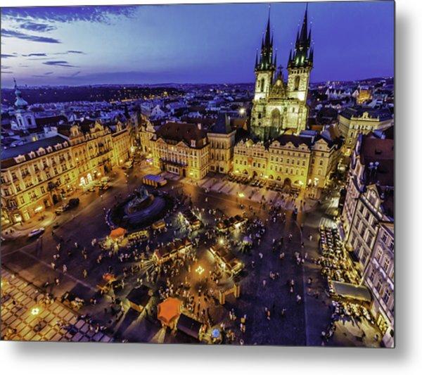 Prague Cityscape At Dusk Staromestski Namesti Metal Print by Valerii Tkachenko