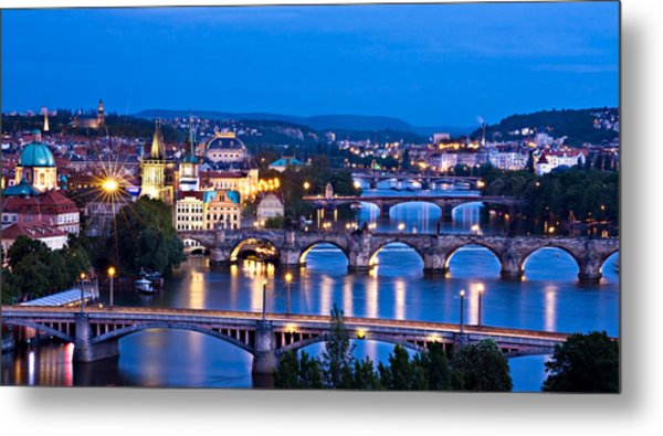 Metal Print featuring the photograph Prague Cityscape At Night by Barry O Carroll