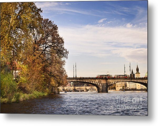 Prague From Vltava Metal Print by Jelena Jovanovic