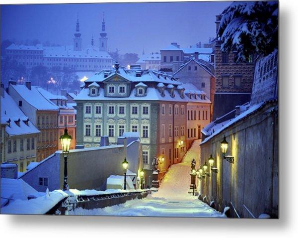 Prague In White Metal Print