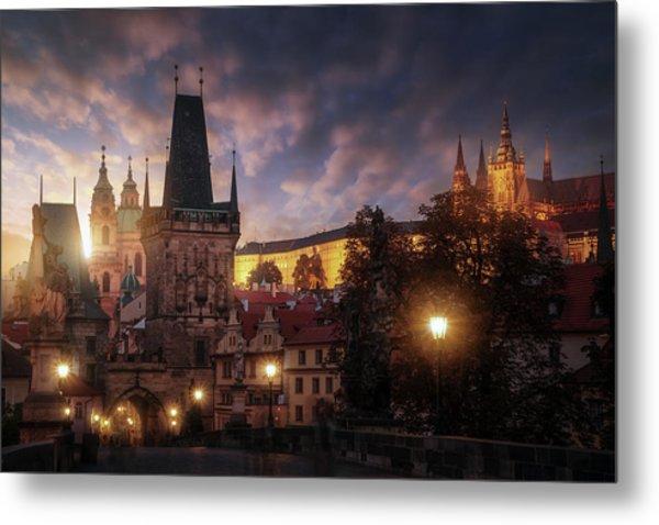 Prague Sun. Metal Print by Juan Pablo De