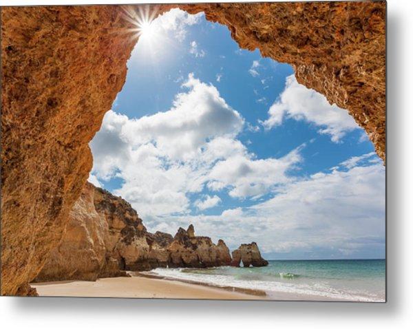 Praia Dos Tres Irmaos Beach, Algarve Metal Print by Peter Adams