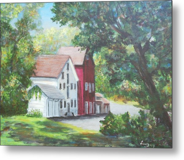 Metal Print featuring the painting Prallsville Mill  by Katalin Luczay