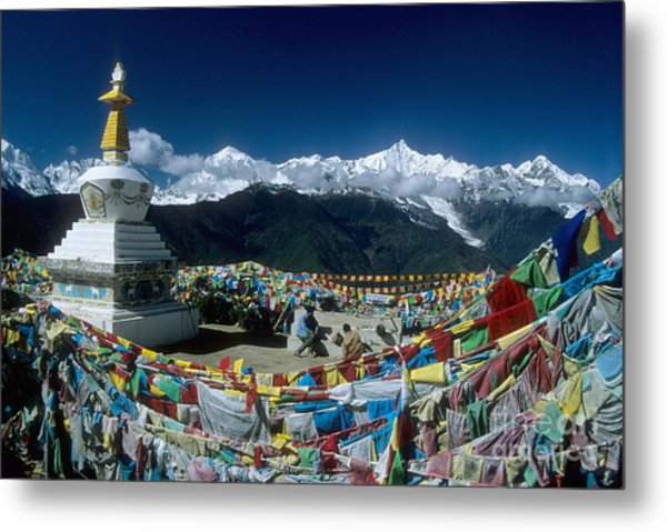 Prayer Flags In The Himalayan Mountains Metal Print