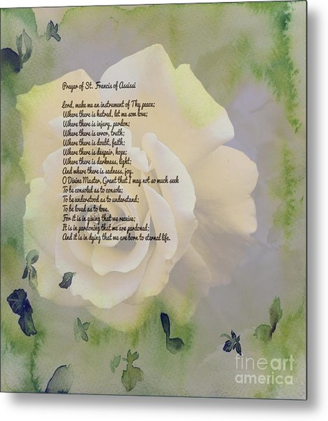 Prayer Of St. Francis And Yellow Rose Metal Print