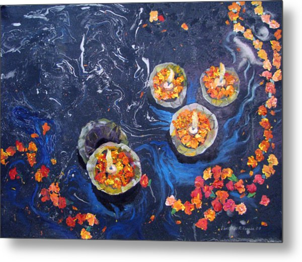 Prayers To The Ganges River Metal Print by Art Nomad Sandra  Hansen
