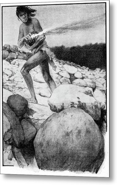 Prehistoric Man With Fire Metal Print by Cci Archives