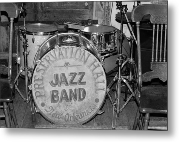 Preservation Hall Jazz Band Drum Bw Metal Print