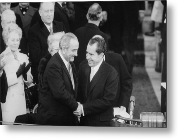 President Lyndon Johnson Warmly Shakes Metal Print by Everett