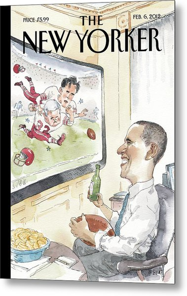 President Obama Watches Football On Tv Metal Print