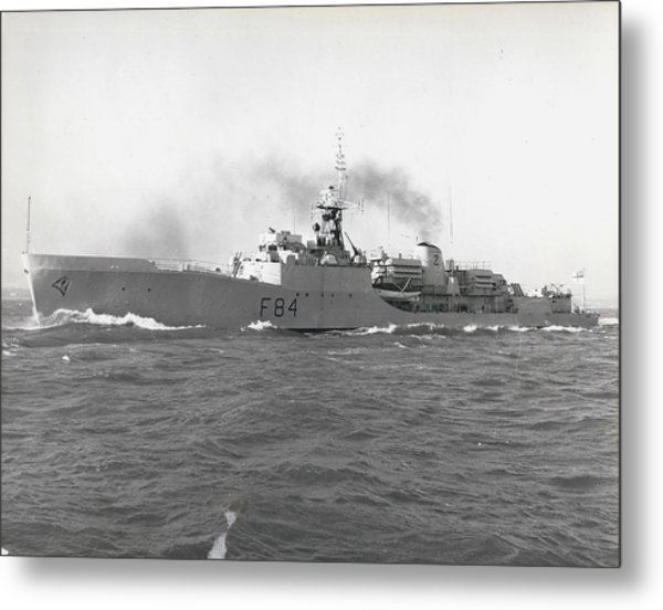 Press Visit To H. M. S. Exmouth The Royal Navy's First Metal Print by Retro Images Archive