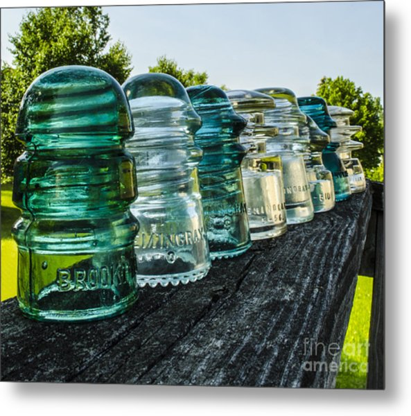 Pretty Glass Insulators All In A Row Metal Print