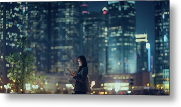 Pretty Office Lady Is Using Tablet In Metal Print by D3sign