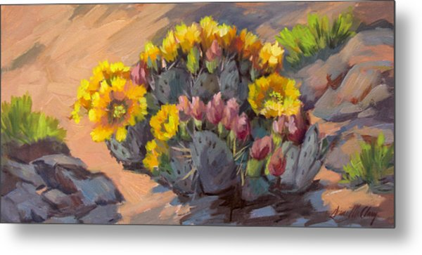 Prickly Pear Cactus In Bloom Metal Print