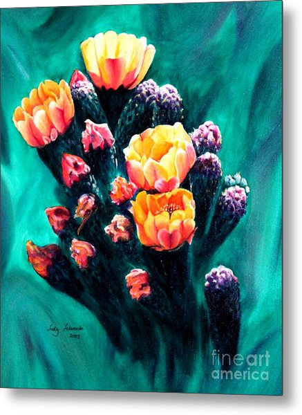 Prickly Pear Cactus Painting Metal Print