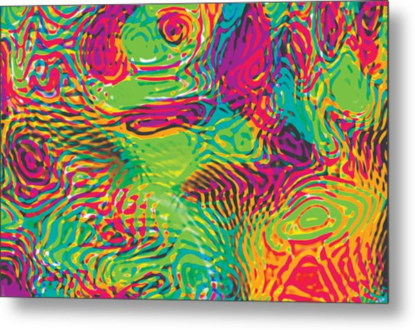 Primary Ripples In Green Metal Print
