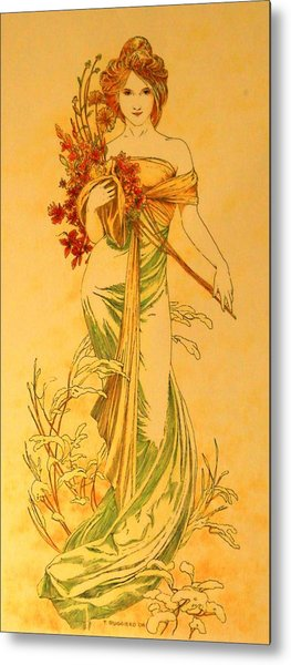 Primavera After Mucha Metal Print