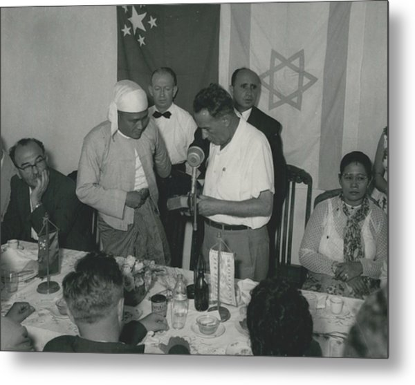 Prime Minster Of Burma On Visit To Israel. Receives A Metal Print by Retro Images Archive