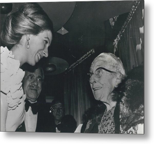 Princess Anne Meets Agatha Christie At Premiere Of Film Metal Print by Retro Images Archive