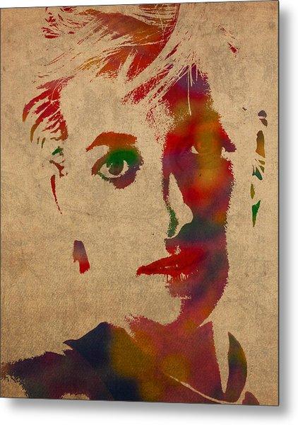 Princess Diana Watercolor Portrait On Worn Distressed Canvas Metal Print