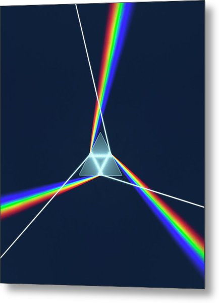 Prism And 3 Spectrums Metal Print by David Parker