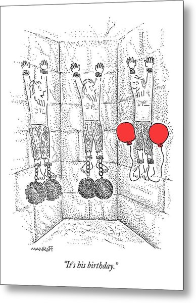 Prisoner In Dungeon Has Orange Balloons Attached Metal Print