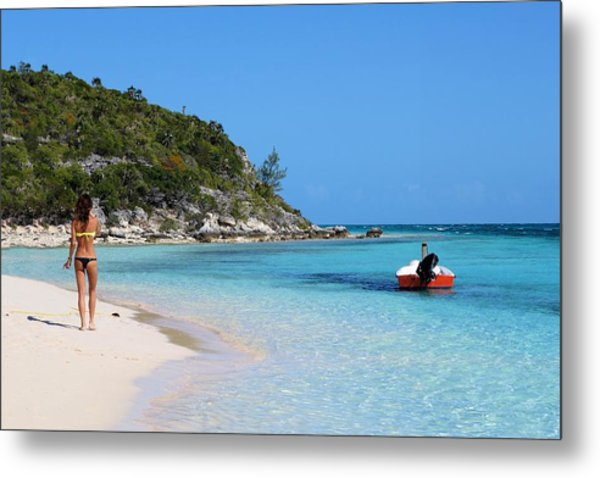Private Beach Bahamas Metal Print