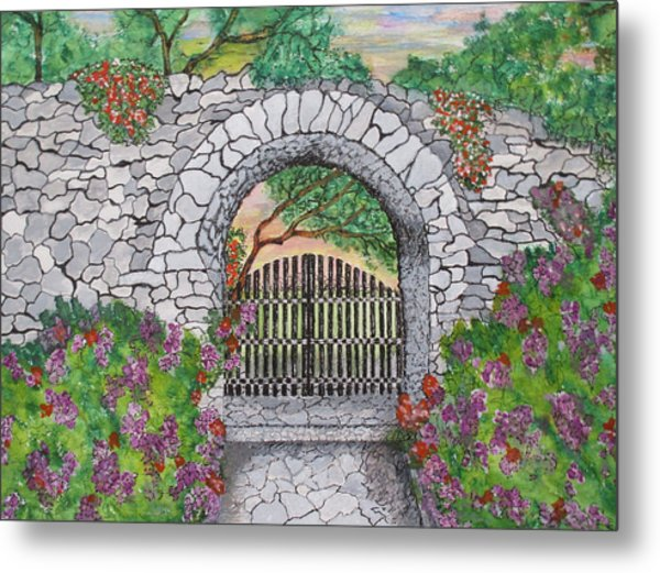 Private Garden At Sunset Metal Print