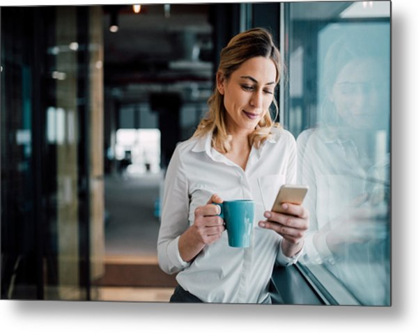 Professional Businesswoman Texting Metal Print by Filadendron
