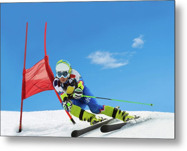 Professional Female Ski Competitor At Metal Print by Technotr