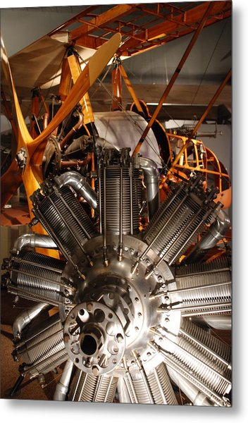 Prop Plane Engine Illuminated Metal Print